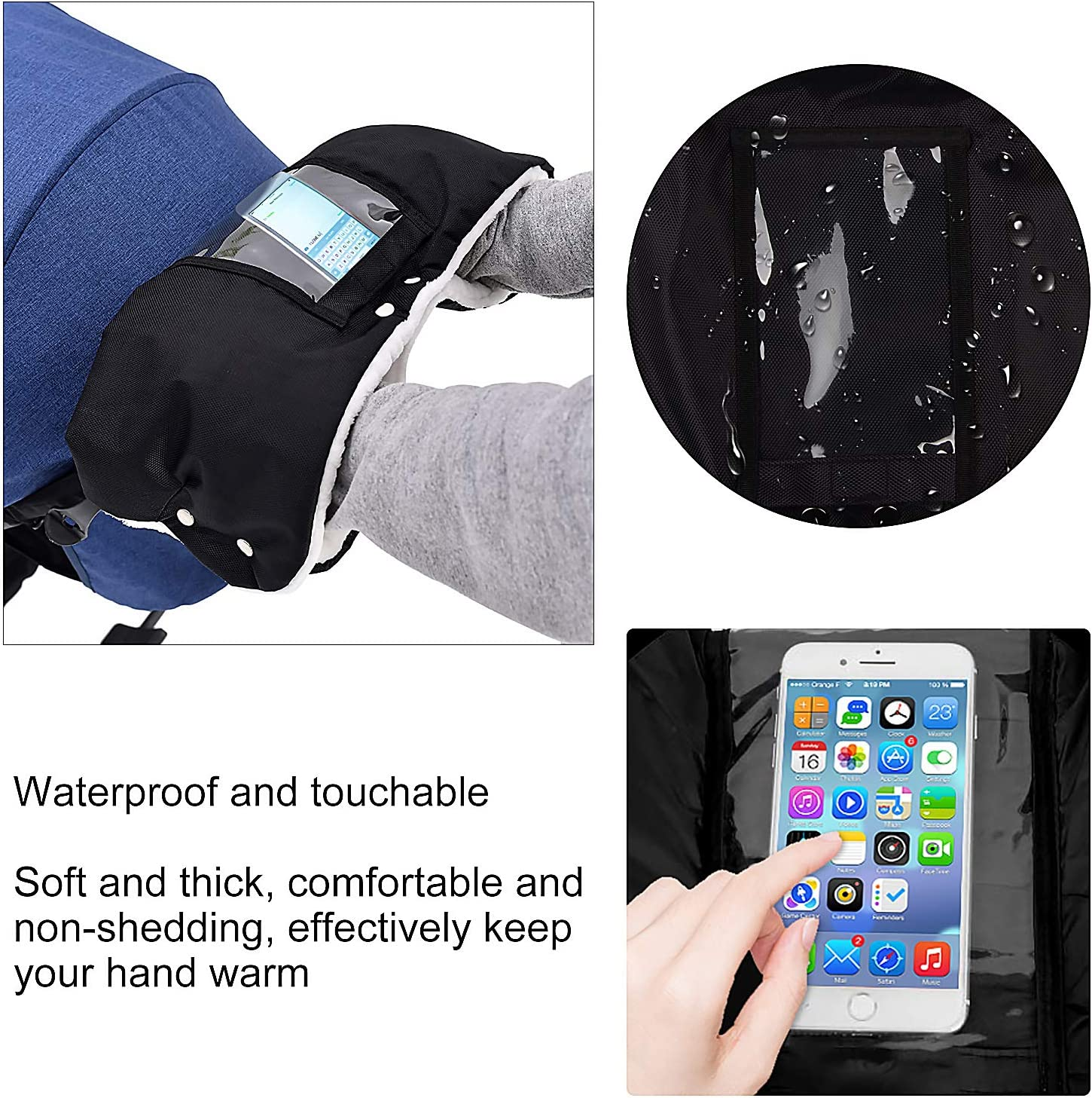 EXLECO Stroller Hand Muffs Black Pushchair Gloves Baby Extra Thick Stroller Gloves Waterproof Anti-Freeze Warm Winter Pram Glaves with Phone Pocket for All Stroller and Buggy
