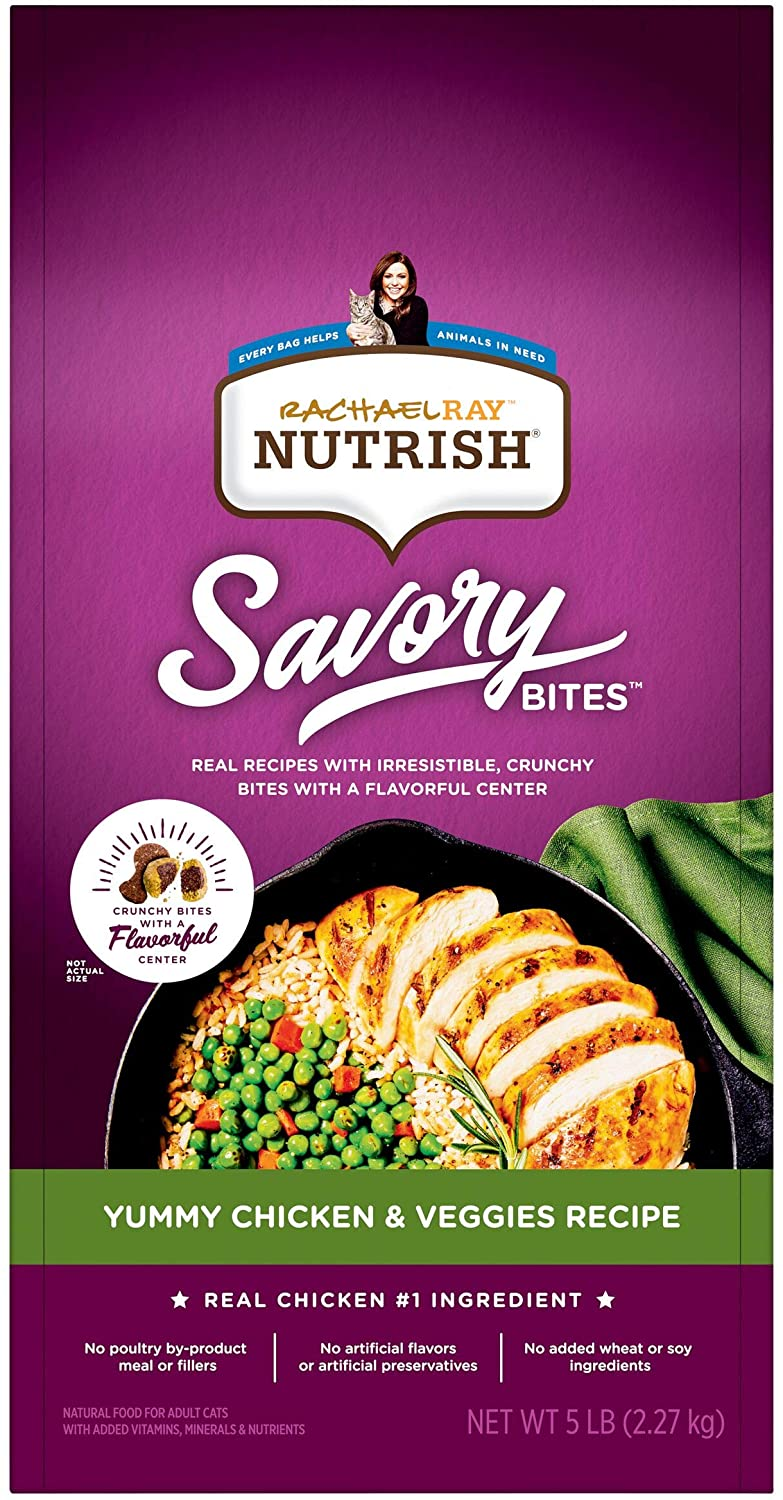Rachael Ray Nutrish Savory Bites Dry Cat Food, Yummy Chicken & Veggies Recipe, 5 Pounds