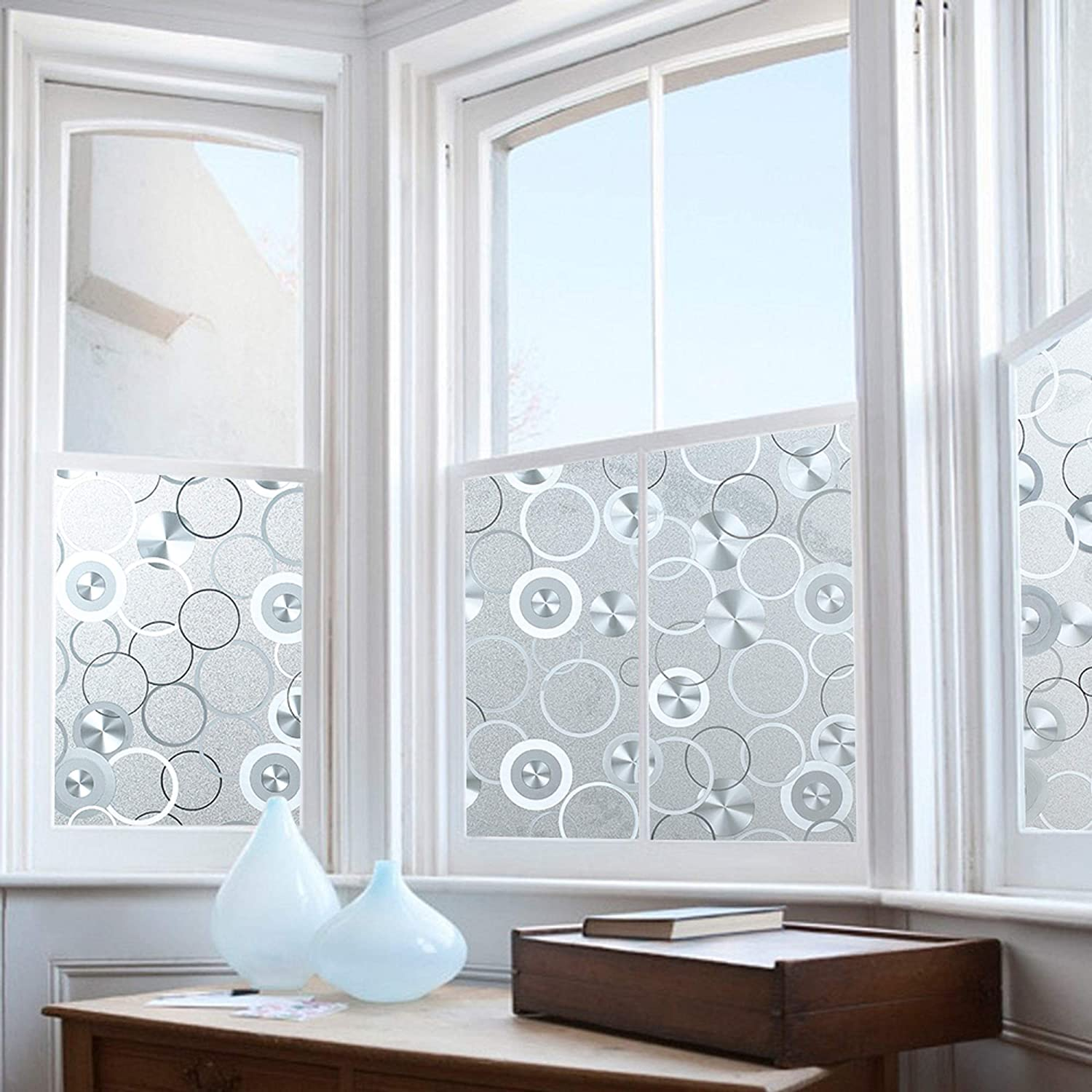 Amazing Decorative Window Film Ideas Cool Privacy Window Film, Decorative Static Cling Glass, Home u0026 Office Film,  Stained Circles, Self Adhesive Sticker Frosted Privacy Pattern PVC Vinyl  Glass ...