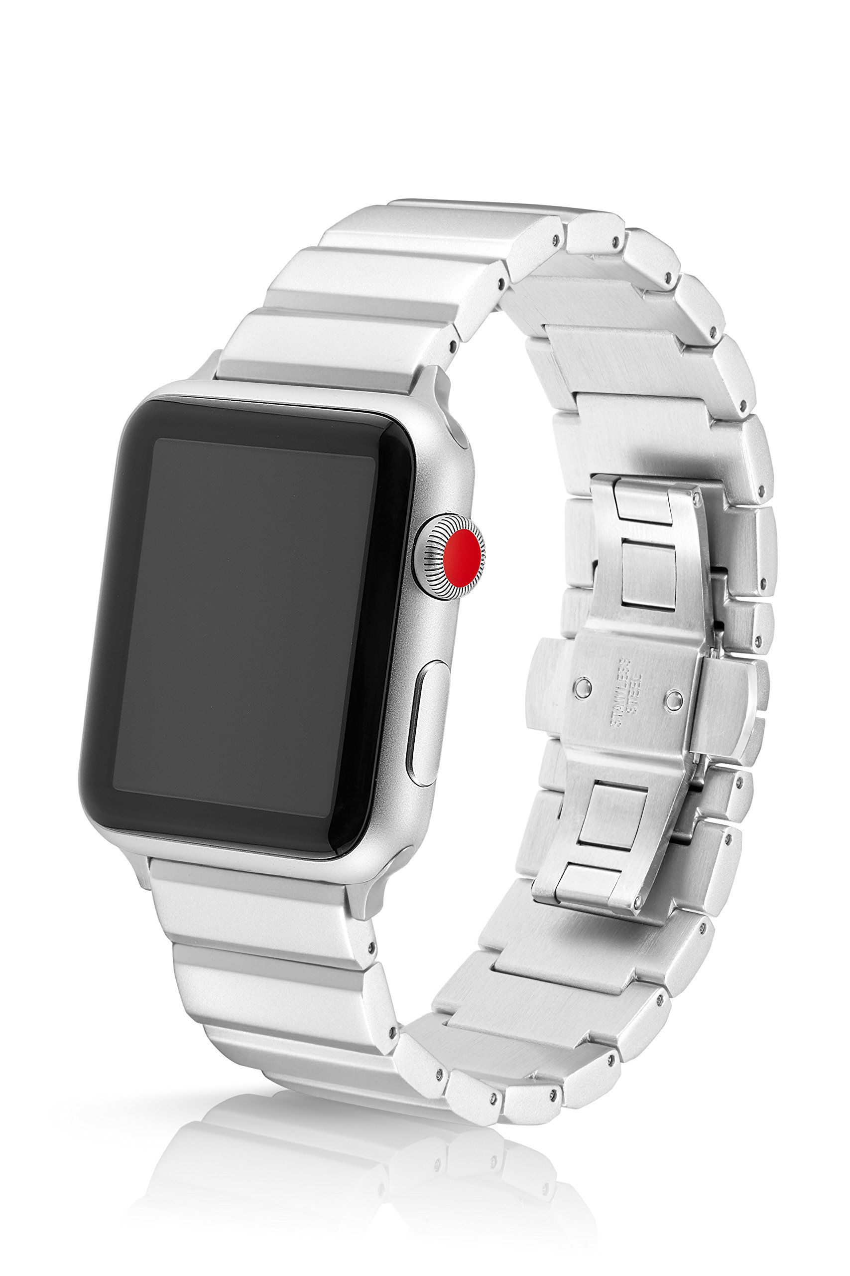 42/44mm JUUK Silver Ligero LT Premium Watch Band Made for The Apple Watch, Using Aircraft Grade, Hard Anodized 6000 Series Aluminum with a Solid Stainless Steel Butterfly deployant Buckle (Matte)