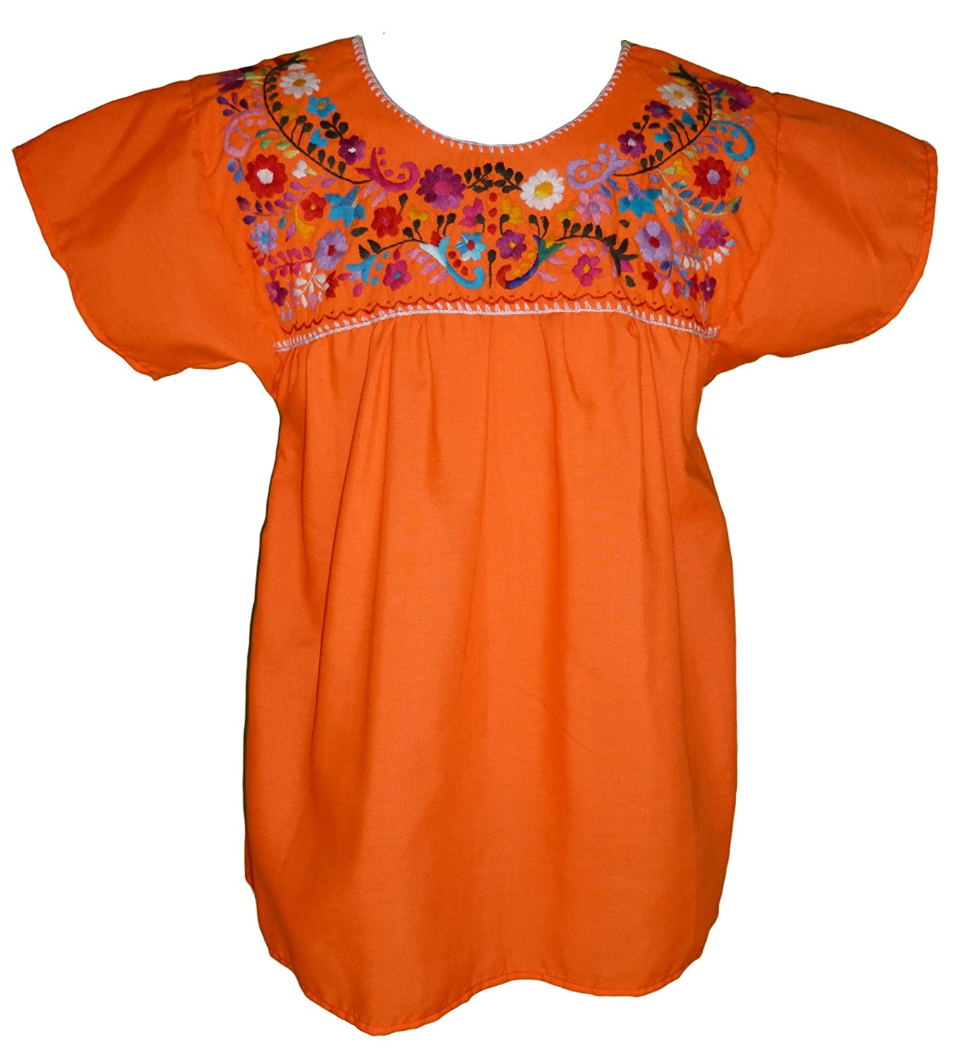 3f6e399faf045c Women's Puebla Mexican Blouse - Orange at Amazon Women's Clothing store:
