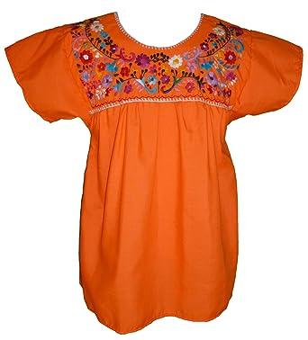 e1fa65d12ec25 Women s Puebla Mexican Blouse - Orange at Amazon Women s Clothing store