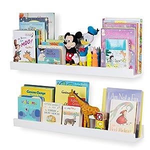 Wallniture Denver Wall Mount Kids Bookshelf | Floating Wall Shelf for Book Display – Wide 34 Inch White Set of 2