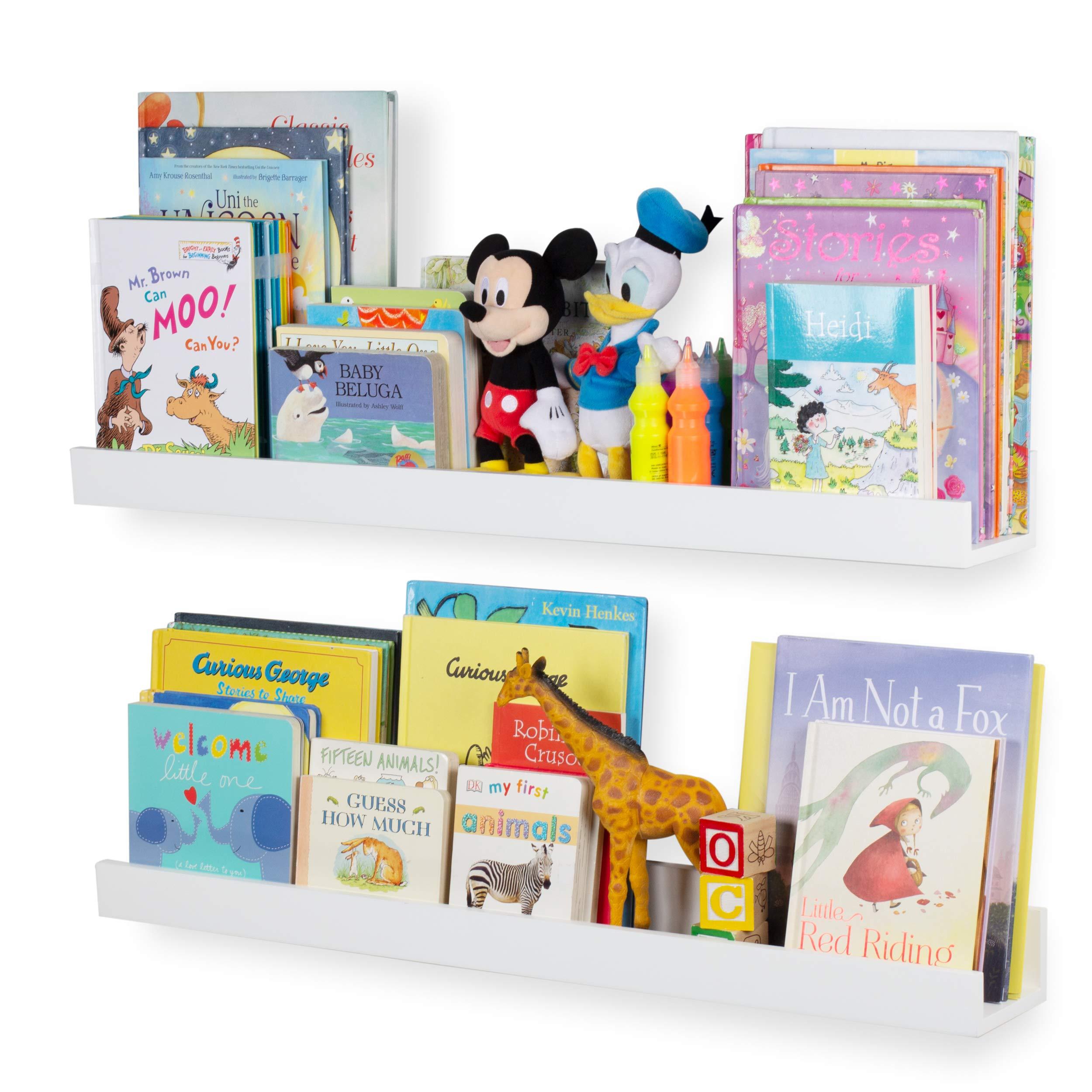 Wallniture Denver Wall Mount Kids Bookshelf | Floating Wall Shelf for Book Display - Wide 34 Inch White Set of 2