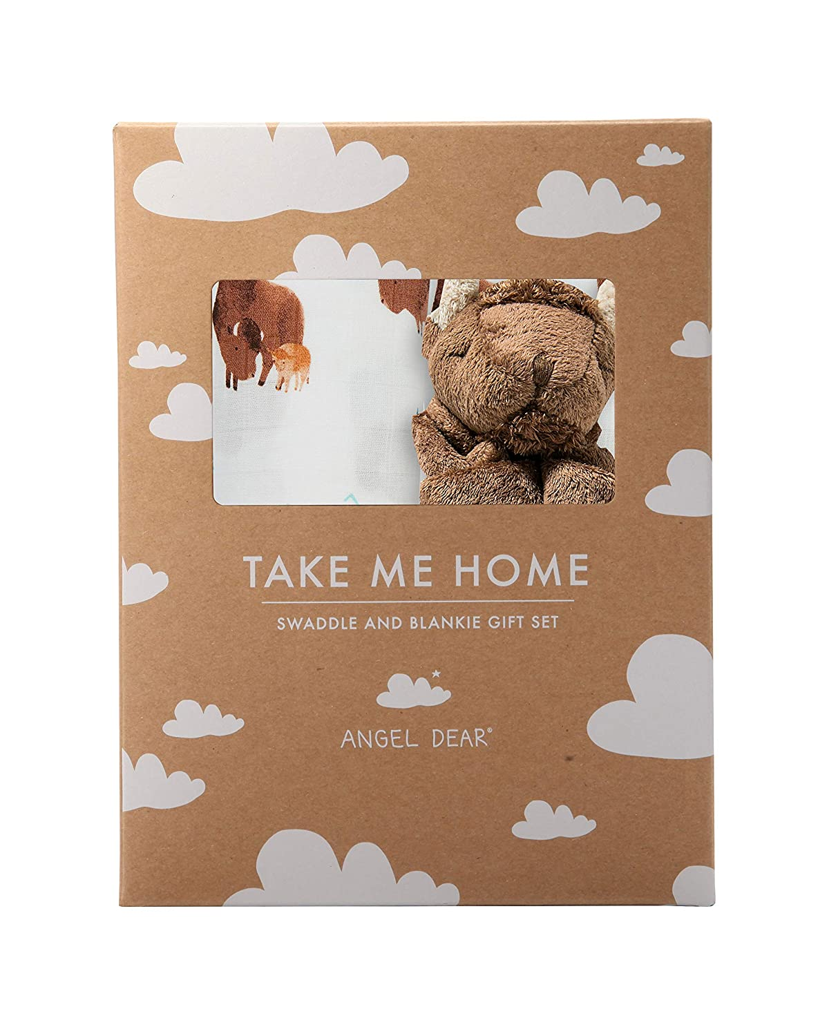 Angel Dear Swaddle and Blankie Gift Set, Buffalo with Bison