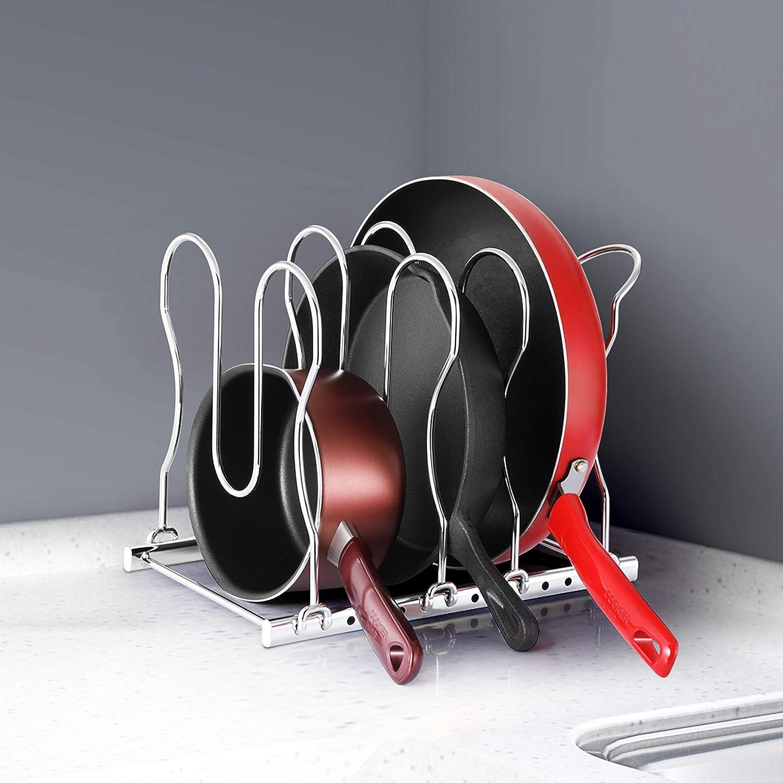 CAXXA Heavy Duty Pan Rack, Pot Lid Rack, Kitchen Cabinet Pantry Cookware Organizer Rack Holder | 5 Adjustable Dividers, Chrome: Kitchen & Dining