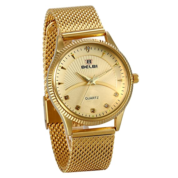 JewelryWe Valentines Day Gifts Couple His and Hers Gold IP Ultra Thin Quartz Analog Mesh Stainless Steel Wrist Watches
