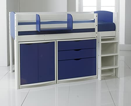 Cama de madera de pino de manga y pernera de diseño de, estrecha adaptador para taladro para brocas de colchón 60,96 cm 15,24 cm de ancho. Blanco/azul. Incluye muebles: armario para parte