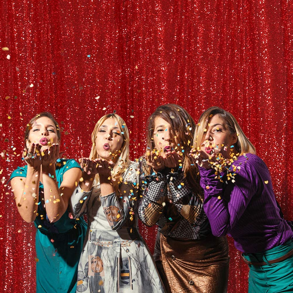 SquarePie Sequin Backdrop 6FT x 6FT Red Photography Background Sparkly Curtain Selfie Wall for Wedding Party Decoration