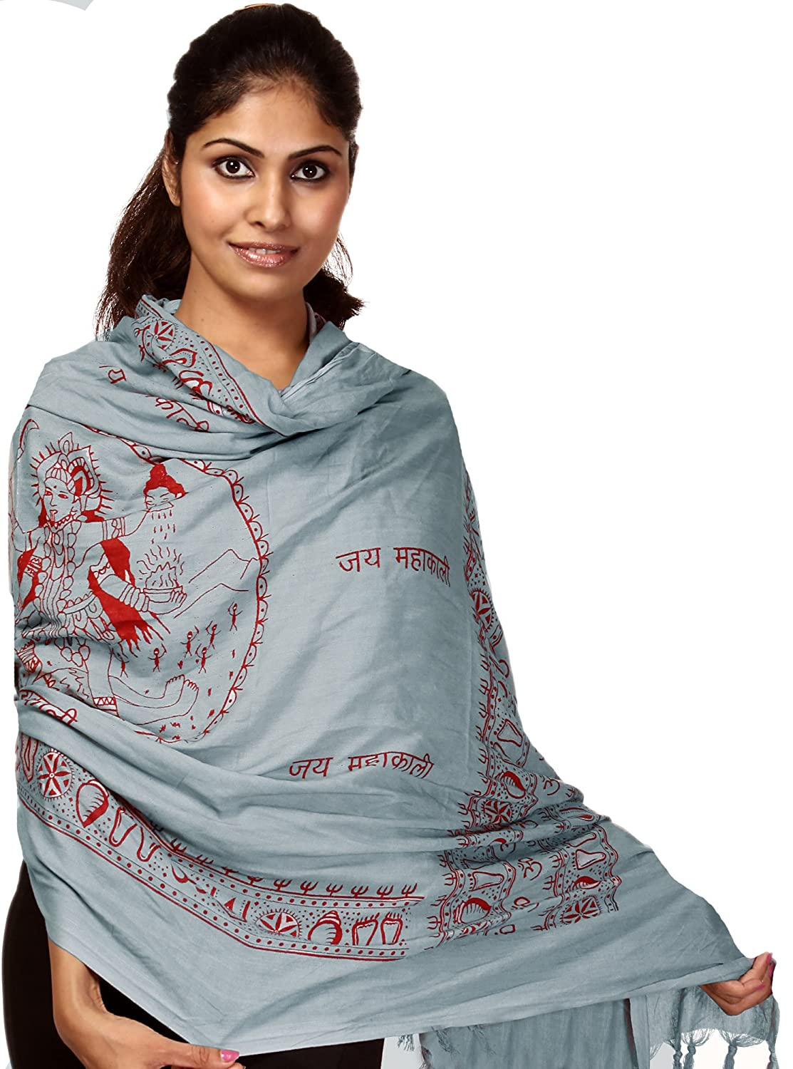 Exotic India Jai Maha Kali Prayer Shawl - White And Red SRB47