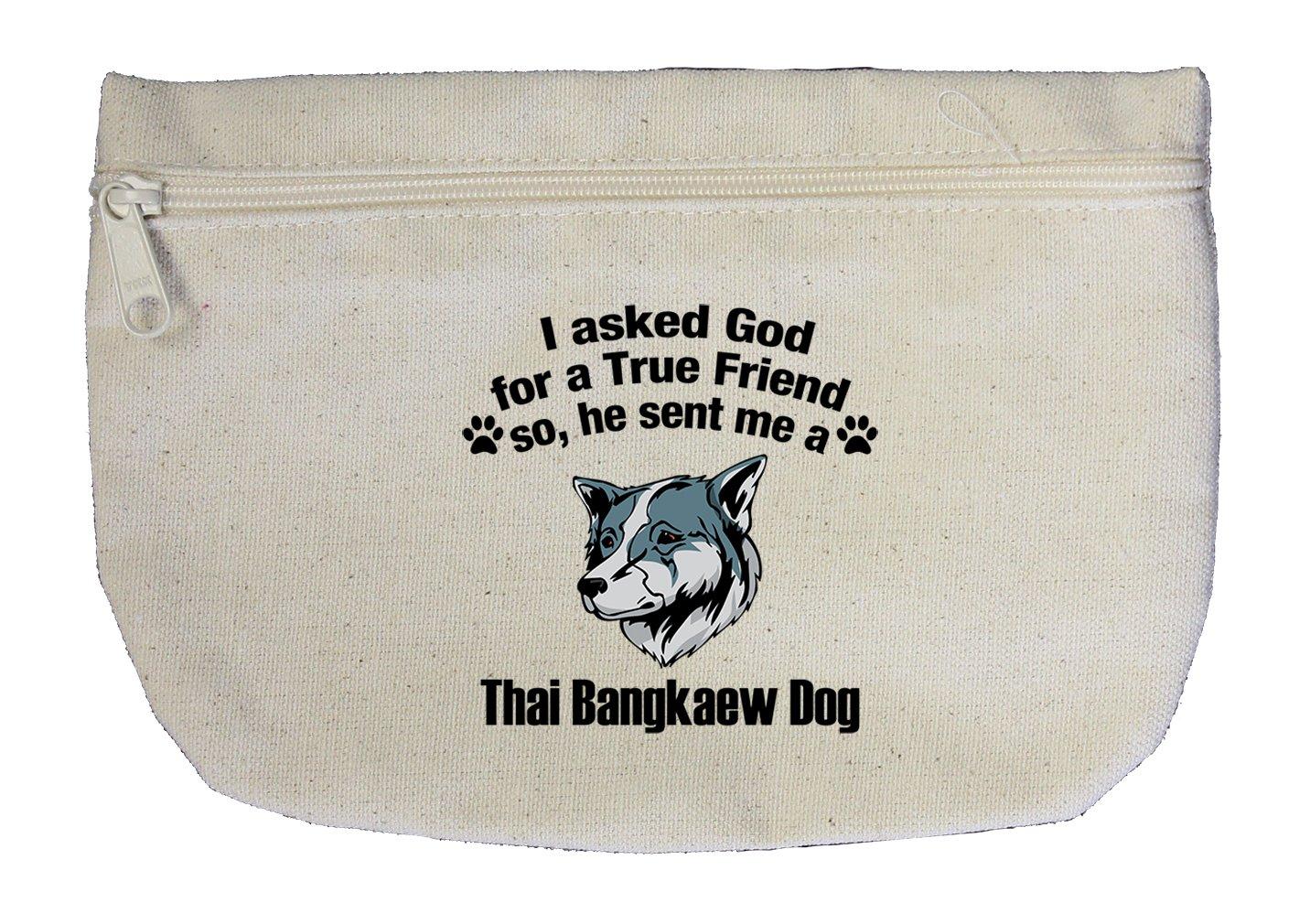 Canvas Zipper Pouch Bag Asked God Friend Thai Bangkaew Dogdog Style In Print