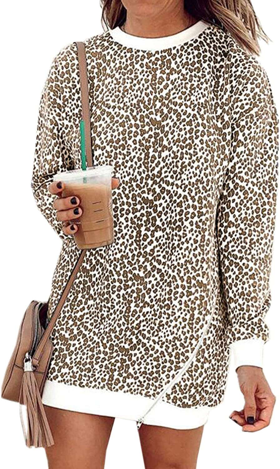 Womens Stretchy Soft Feel Casual Baggy Tunic Dress Animal Leopard Print 10-18