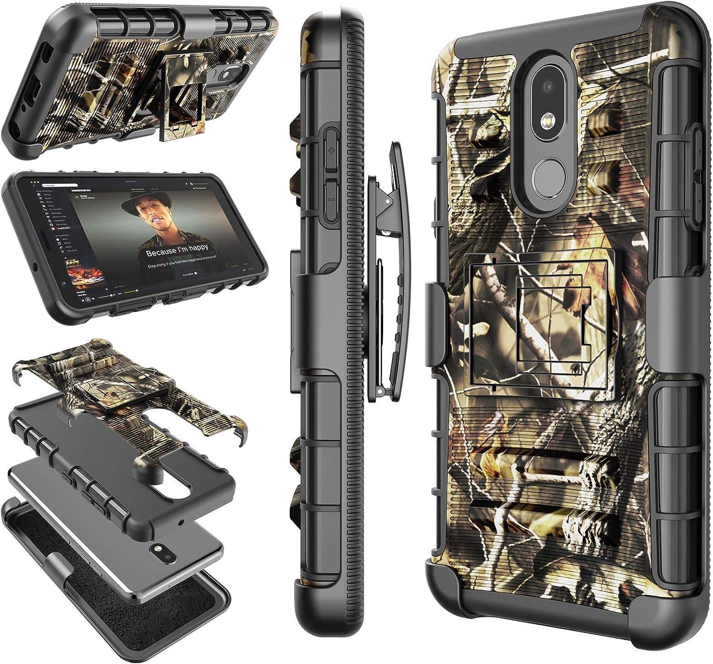 LG Aristo 4+ Plus Case, LG Arena 2 / Journey LTE/Tribute Royal/Prime 2 / Escape Plus Holster Clip, Tekcoo [Hoplite] Swivel Locking Belt Kickstand Carrying Camouflage Sturdy Phone Cover -Camo