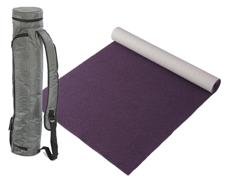 """Bausinger Yogaset  Yogamatte """"Lite"""", Florhöhe 5mm, 80x200 cm, aubergine, mit passender Yogatasche"""