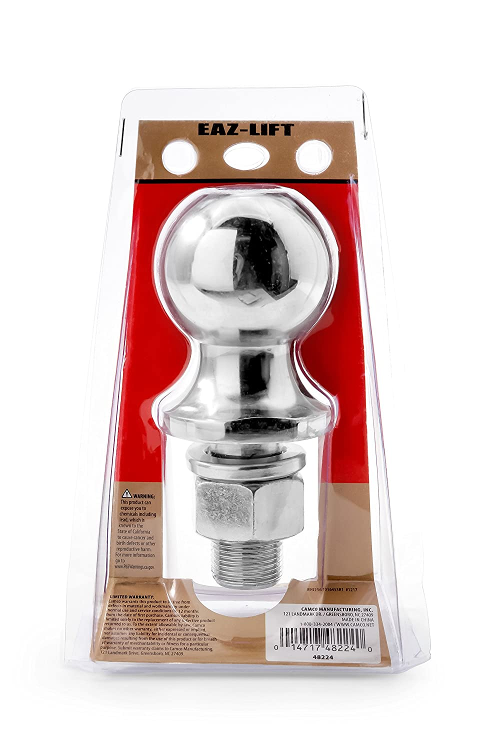 Eaz-Lift 48224 2 5//16 Hitch Ball with 1 Shank Chrome Plated Heavy Duty Steel  7,500 lb Rating