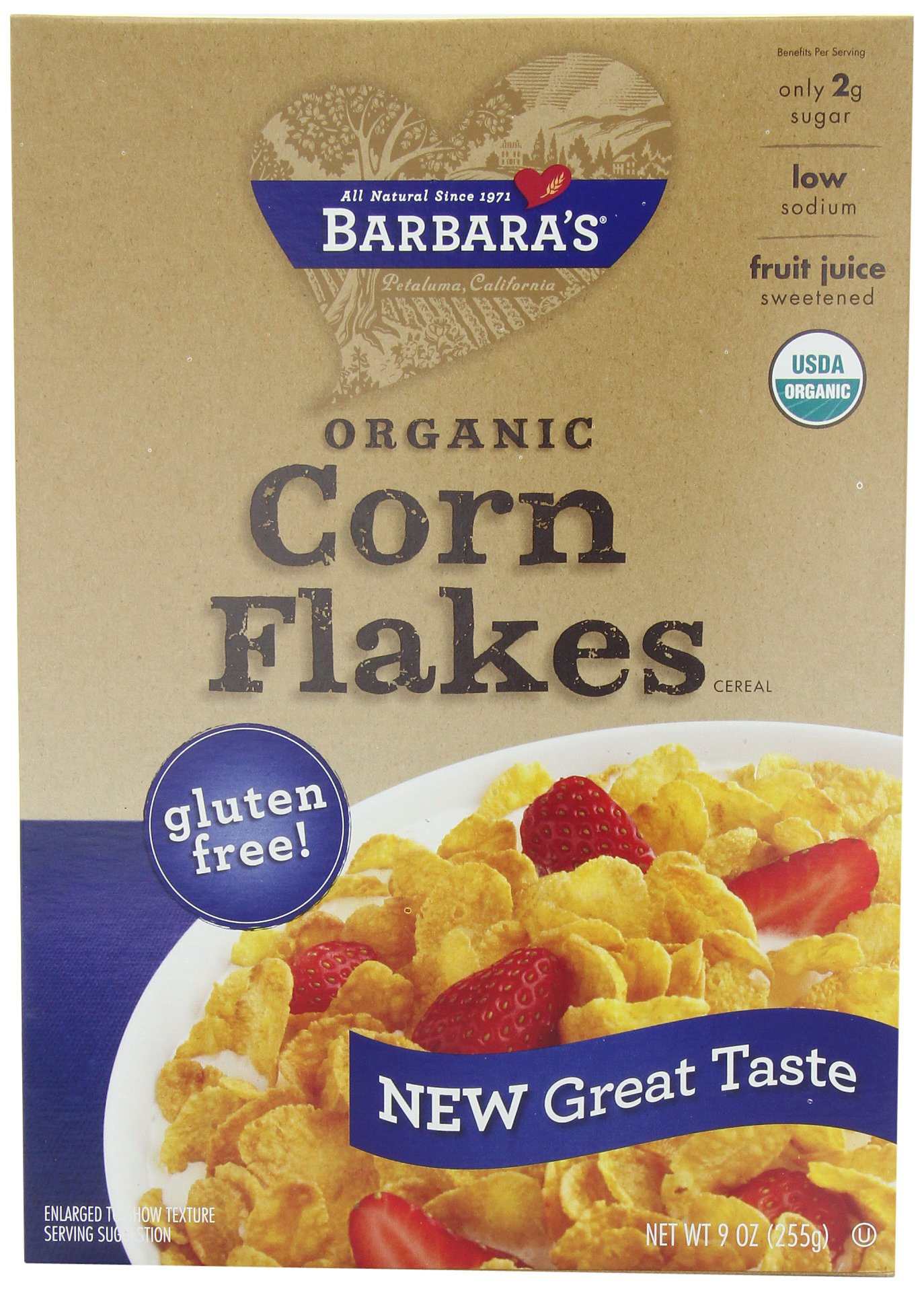 Barbara's Bakery Corn Flakes, Fruit Juice Sweetened, 9-Ounce Boxes (Pack of 6)