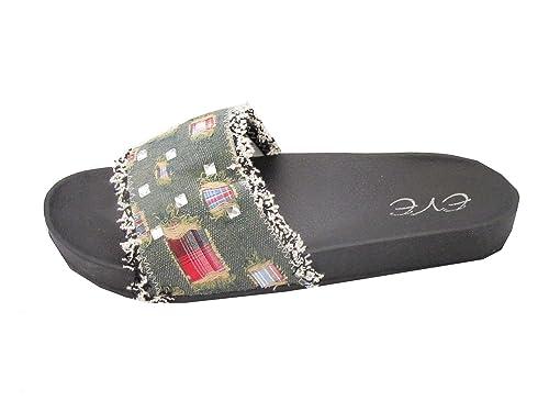 d85a60a4fa82 EVE Women s Denim Flip Flop Slides Sandals Flat Slip On Shoes (5