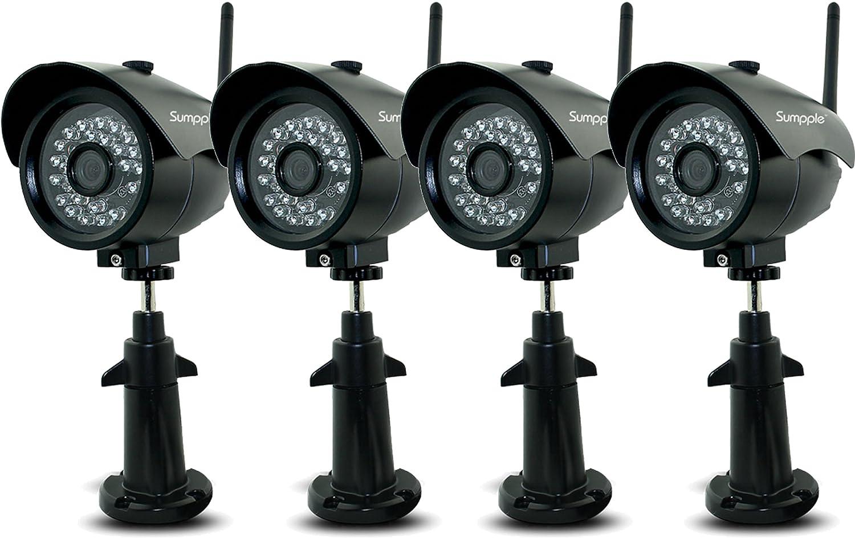 Sumpple 4X ワイヤレス無線WiFi/有線 HD 1280x720P 100万画素 屋外/屋内 耐候性 ネットワーク 監視 弾丸カメラ IP66防水 夜間暗視 モーション探知 ビデオレコード メールアラーム IOS,Android,PC 対応 ブラック B07545KX5D 720P|4X ブラック 4X ブラック 720P
