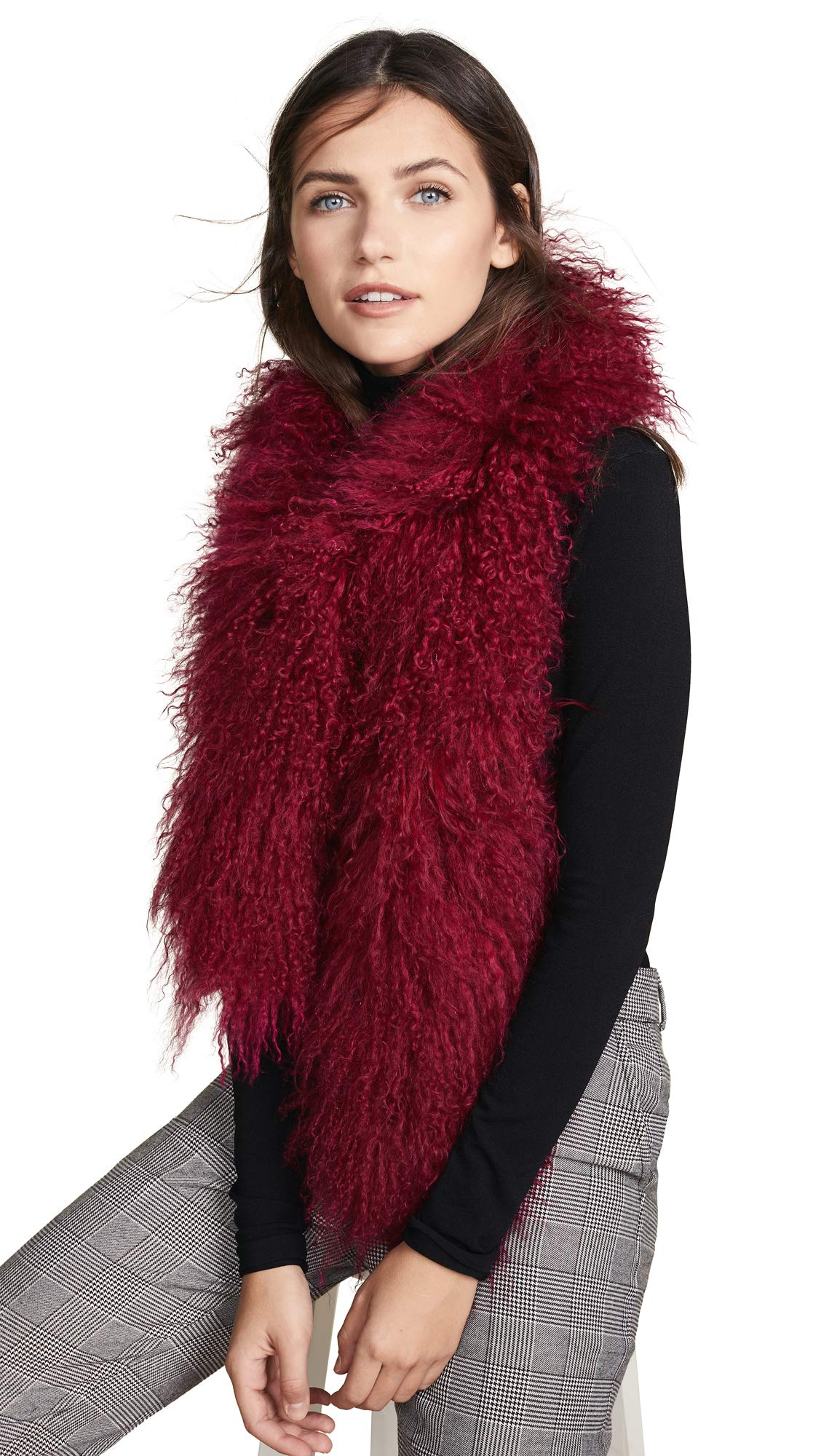 Adrienne Landau Women's Mong Fur Boa Scarf, Cranberry, Red, Purple, One Size