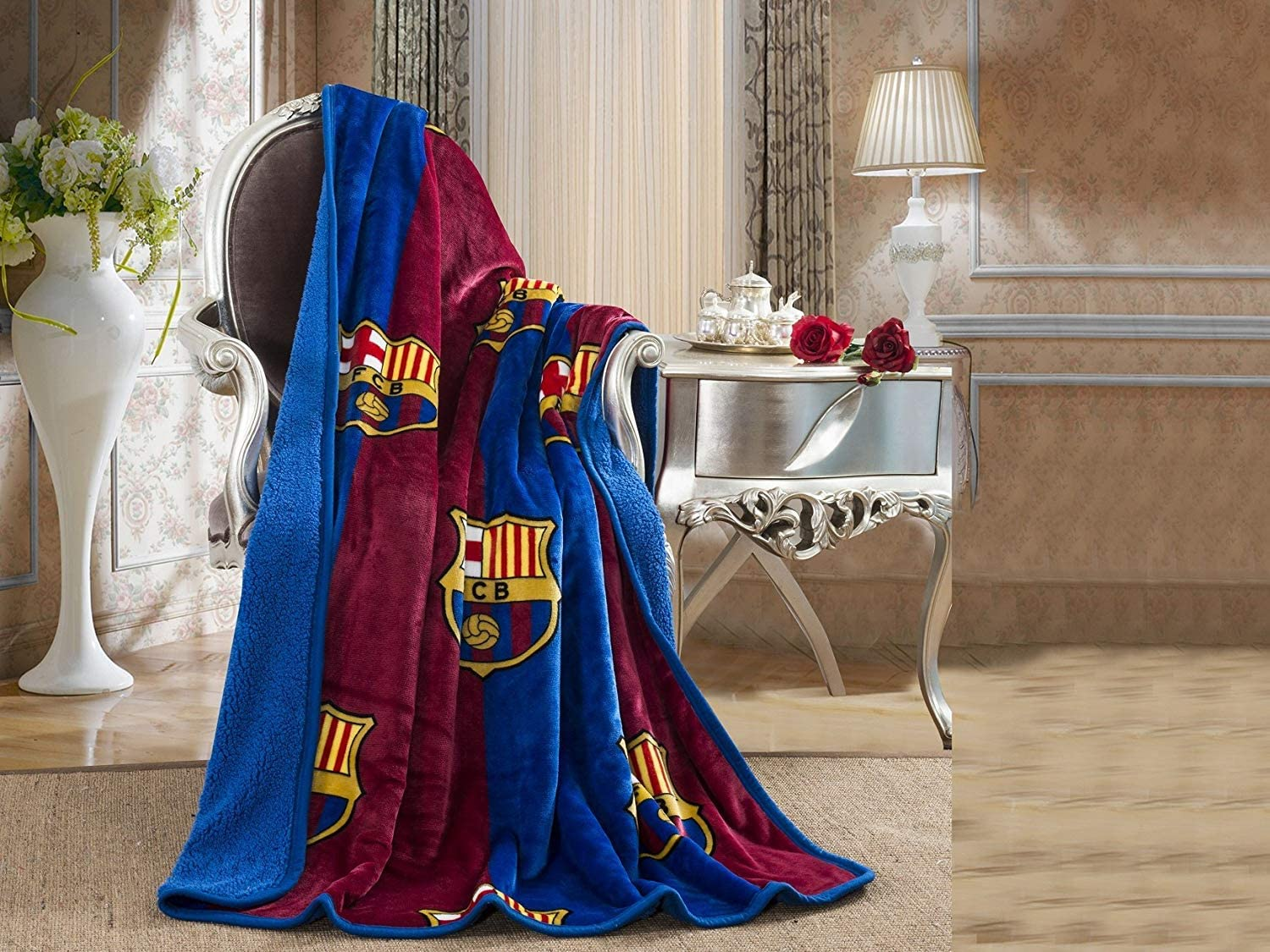 FCBarcelona Silk Touch Sherpa Lined Throw Blanket 50x60""