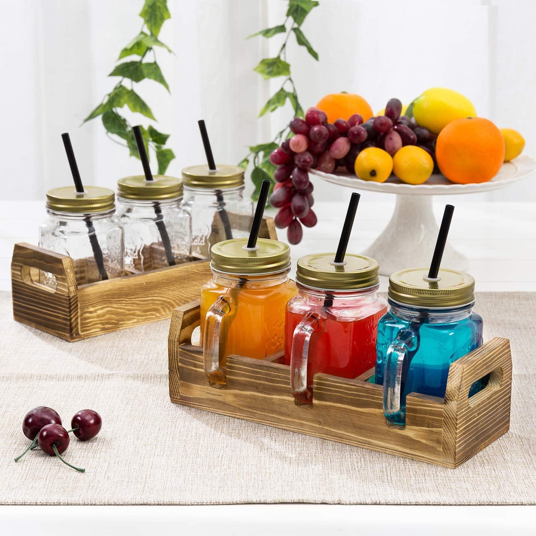 MyGift 16 oz 3-Glass Mason Jar Mug Glasses with Handles Set of 2 Lids /& Straws in Brown Burnt Wood Serving Tray