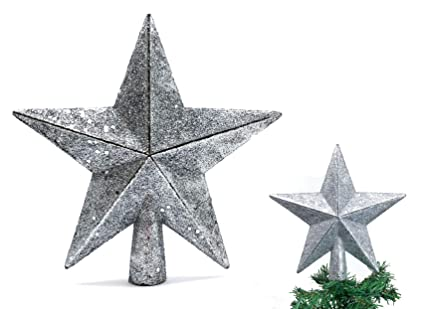 "aa49f89ee517 Christmas Elegance 7.8"" H Star Tree Topper with Glitter Christmas Tree  Decoration - Silver"