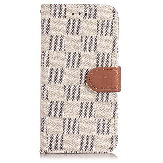 finest selection 928b0 08cf2 Amazon.com: DSLSM iPhone X Case Wallet Luxury Grid Checker Faux ...