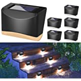 Generep Solar Step Lights, Solar LED Deck Lights Outdoor Waterproof Lighing, Wireless Sun Powered Wall Lights 6 Pack Black Br