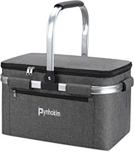Pynhoklm Insulated Cooler Bag Portable Collapsible Picnic Basket Cooler with Sewn in Frame