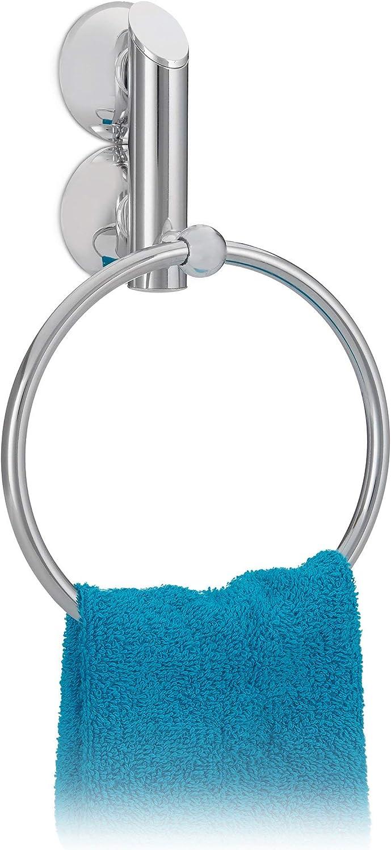 Relaxdays Handtuchhalter ohne Bohren KNUTSCHI rund für Bad Handtuchring mit Saugnapf HxBxT 23 x 15 x 6 cm silber
