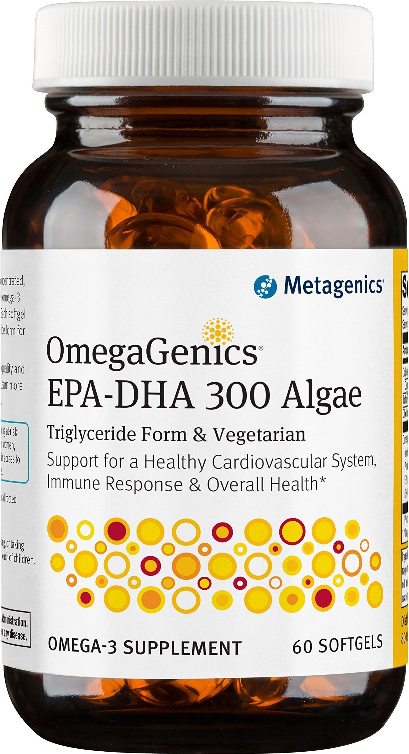 Metagenics OmegaGenics Algae EPA-DHA 300 Dietary Supplement, 60 Count