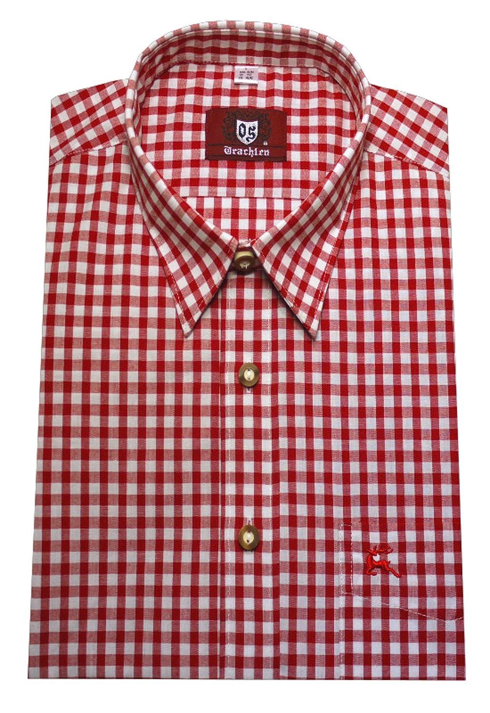 ORBIS Herren Trachten Hemd rot wei/ß kariert Krempelarm OS-0071 Regular Fit M bis XXXXXXL