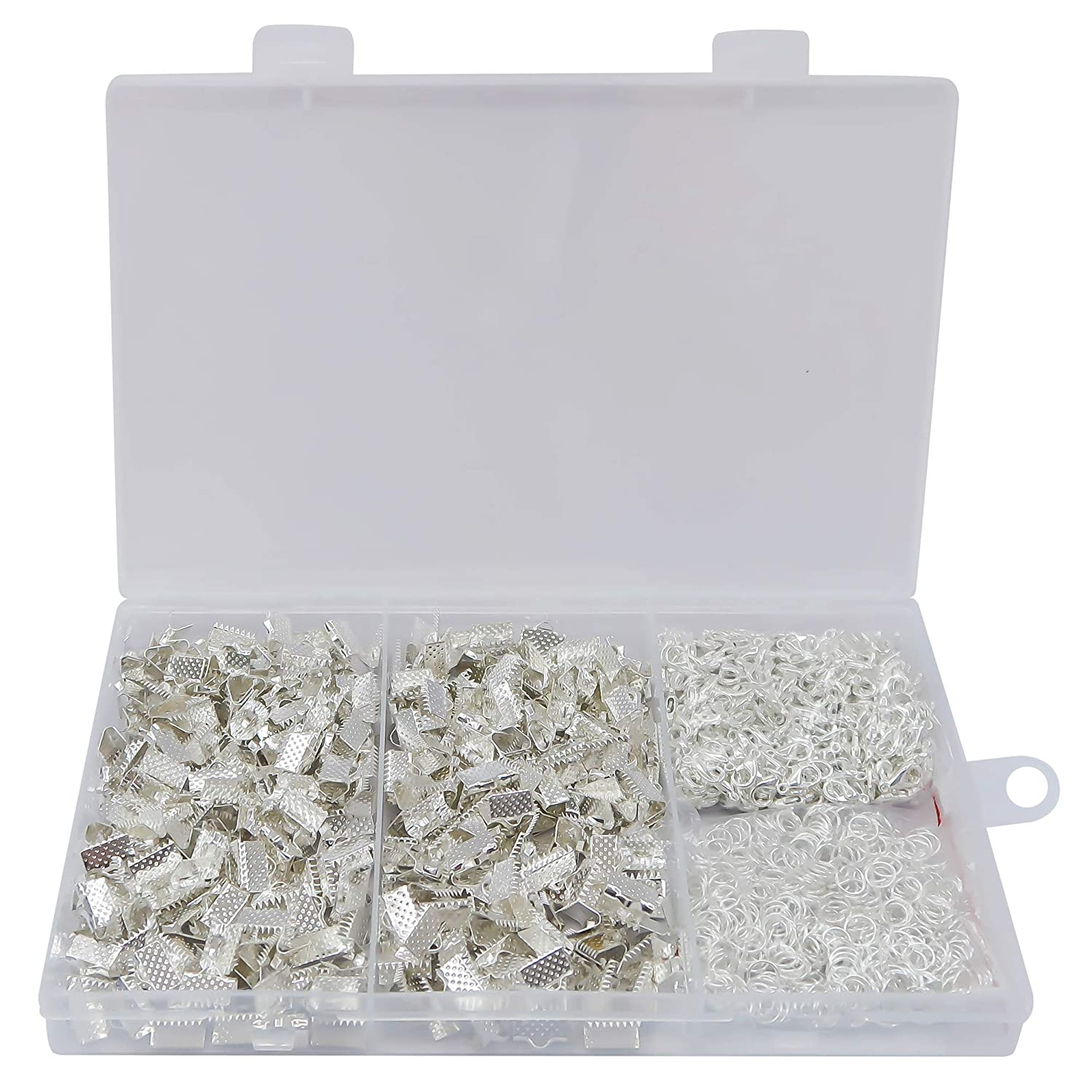 TOAOB 100 Pieces Silver Tone Pinch Crimp Ends for Jewellery Making