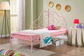 Alice Pink Metal Day Bed Style Frame Kids Princess Girls 3ft Single