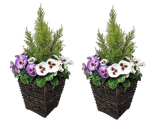 Fiori Bianchi E Viola.Vaso Per Piante Artificiali Per La Terrazza Con Fiori Bianchi E