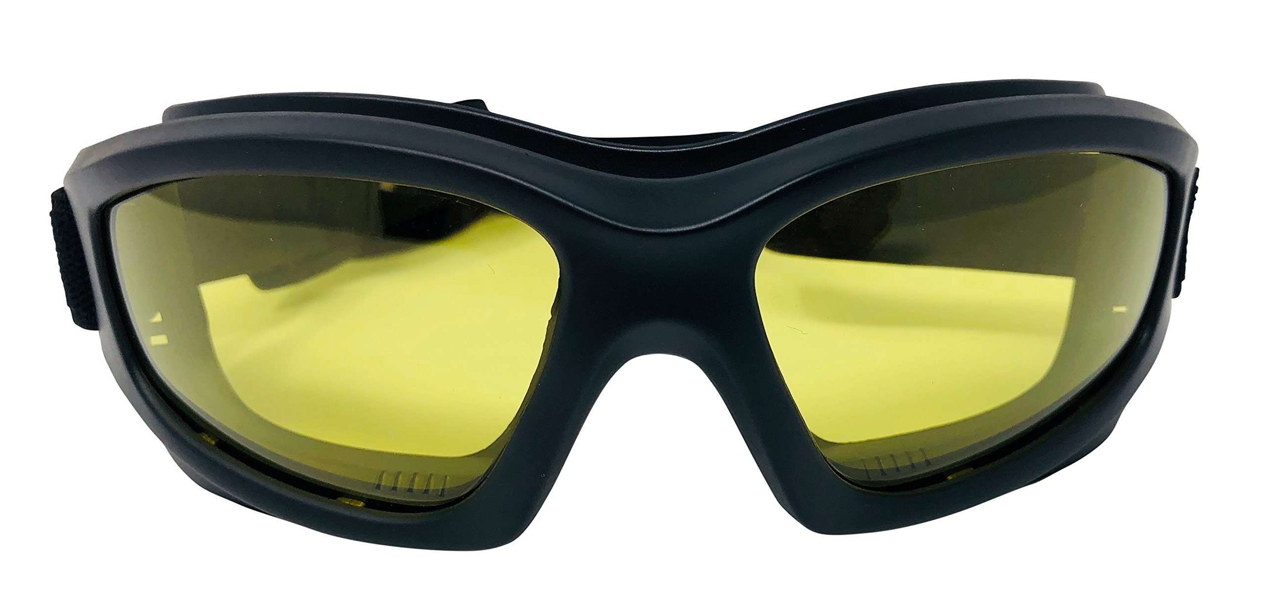 Yellow Motorcycle Riding Goggles: Night Vision Nighttime Riding Goggles''No Foam'' Design w/Hard Case, Microfiber Cleaning Cloth & Pouch Included (Yellow Lens)