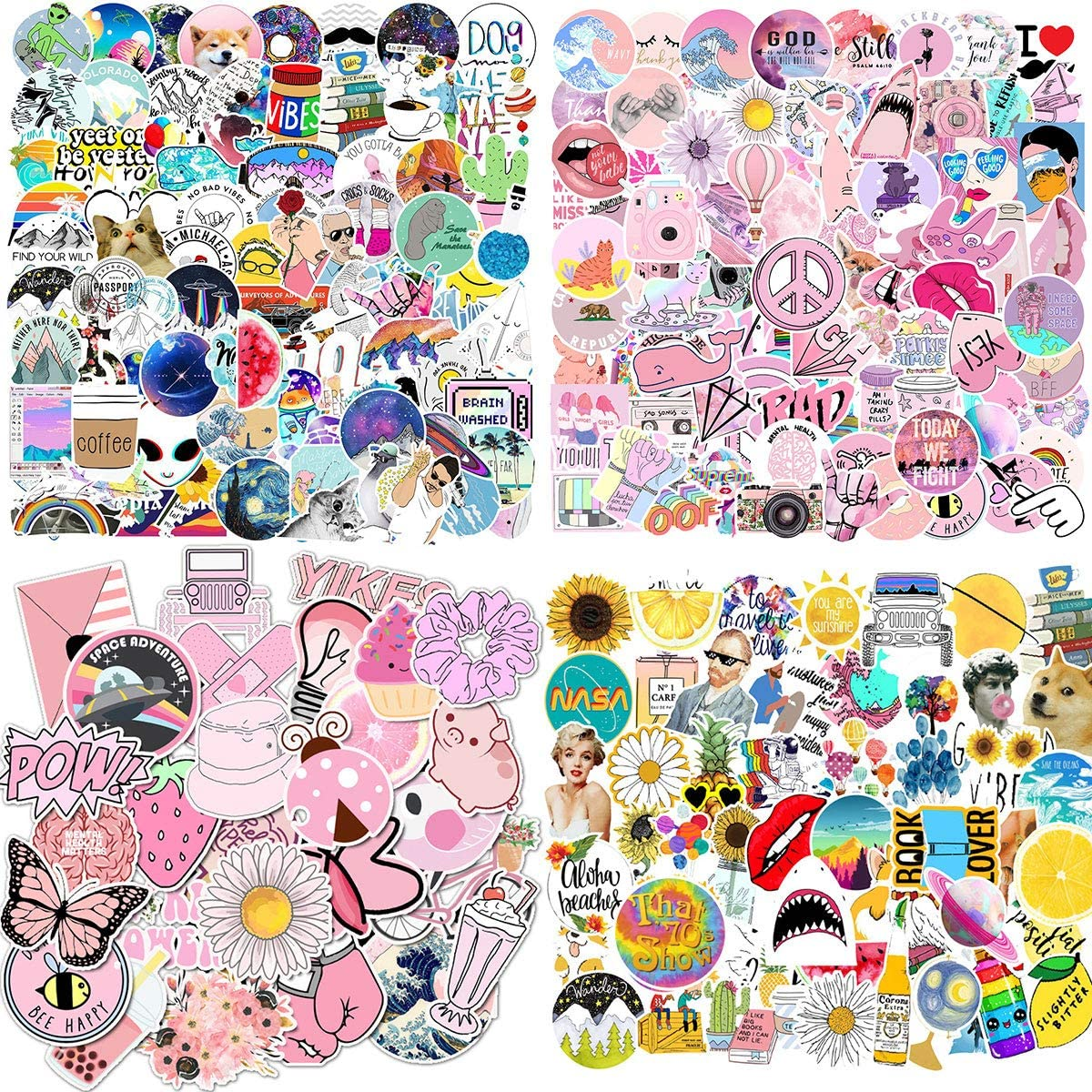 Women Vinyl Stickers Waterproof Girls 309 Pcs Cute Stickers,Laptop and Water Bottle Decal Sticker Pack for Teens