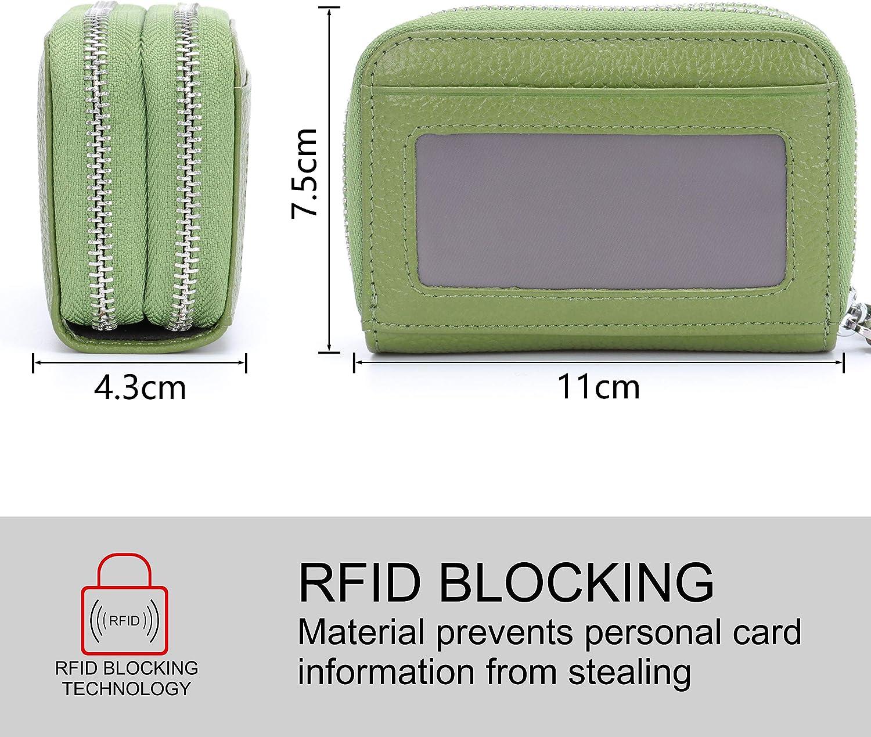 Black MuLier Top Genuine Leather Women Cash Purse RFID Blocking Anti-Theft Front ID Window Double Zipper Around Card Holder