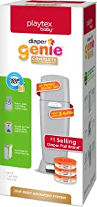 Playtex Diaper Genie Complete Diaper Pail, with Built-in Odor Controlling Antimicrobial, Includes 1 Pail and 3 Max Fresh Refills, Grey (10078300115998)