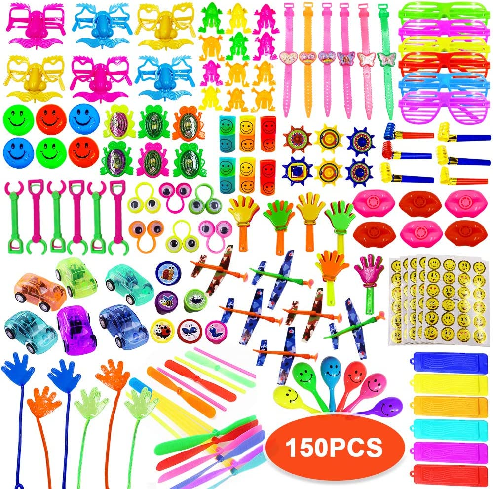ToyerBee Party Favors for Kids, 150PCS Carnival Prizes for Boys&Girls, Birthday Party Favors, Treasure Box Prizes, Prizes Box Toy Assortment for Classroom