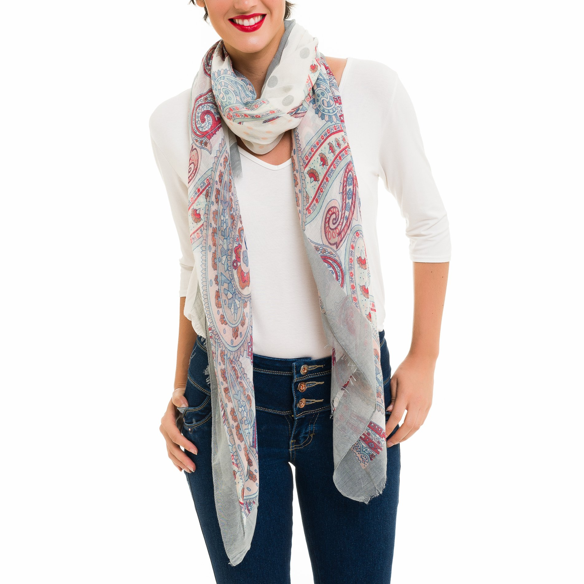 Scarf for Women Lightweight Paisley Fashion Fall Winter Scarves Shawl Wraps (SS43)