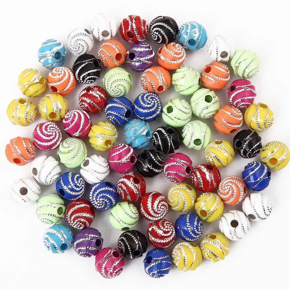 Bingcute 300Pcs 8mm Screw Shiny Acrylic Round Ball Spacer Loose Beads for Jewelry
