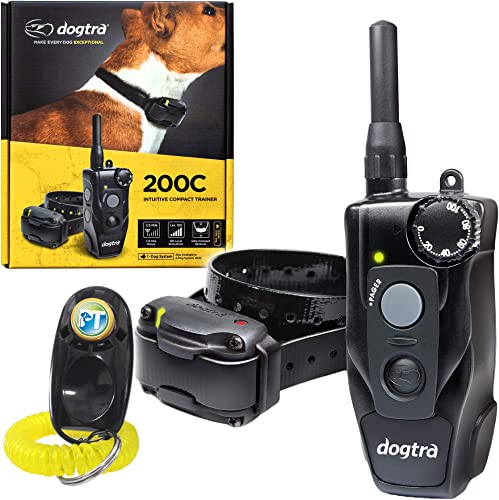 Dogtra 200C Remote Training Collar – 1 2 Mile Range, Waterproof, Rechargeable, Static Correction, Vibration – Includes PetsTEK Dog Training Clicker