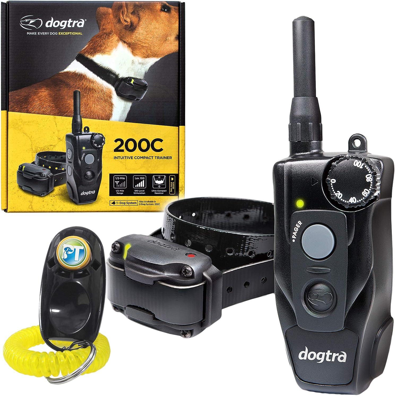 1 Dog System 200C Dogtra 200C Remote Training Collar 1 2 Mile Range, Waterproof, Rechargeable, Shock, Vibration Includes PetsTEK Dog Training Clicker