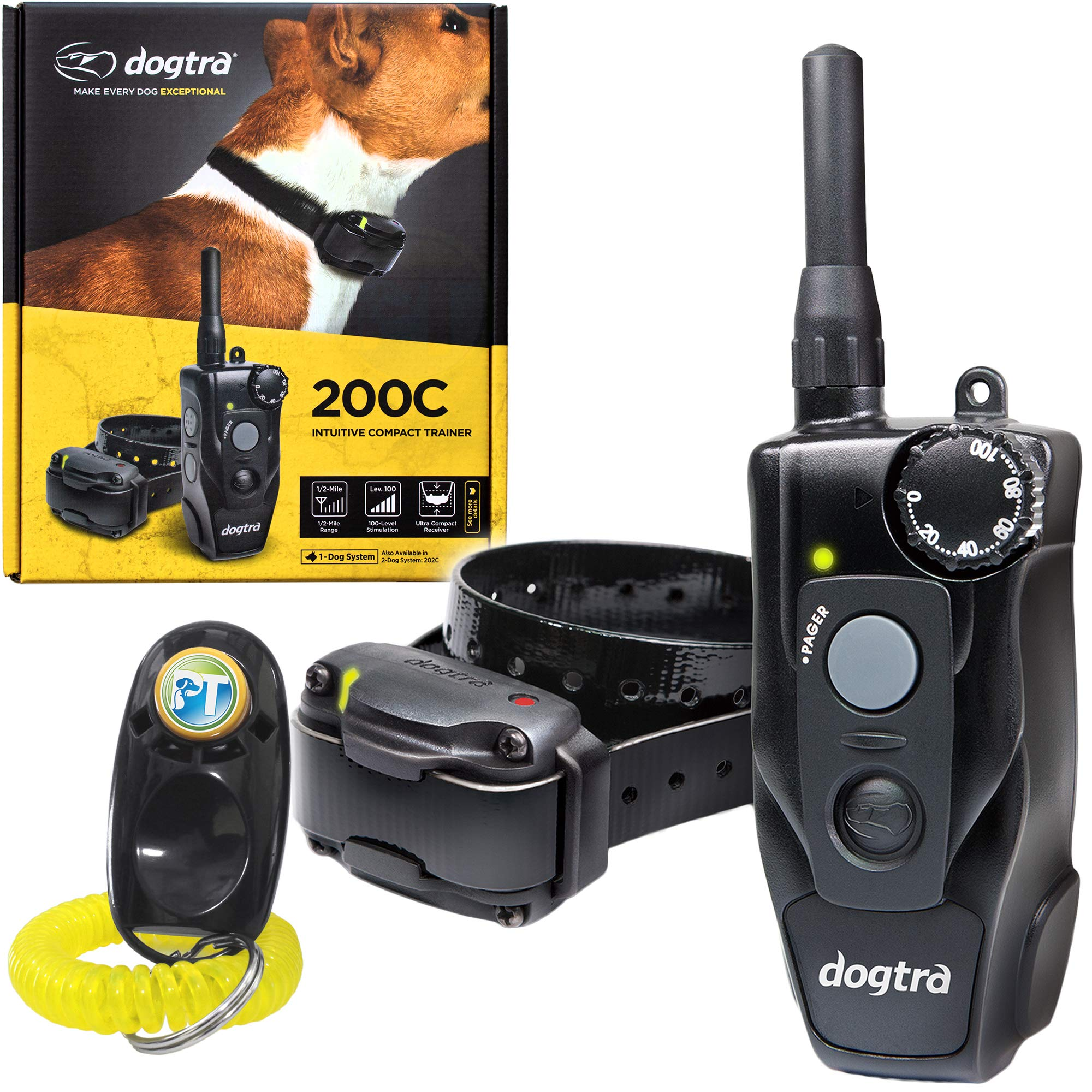 Dogtra 200C Remote Training Collar - 1/2 Mile Range, Waterproof, Rechargeable, Shock, Vibration - Includes PetsTEK Dog Training Clicker by Dogtra