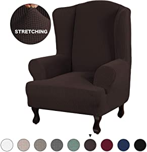Turquoize Wing Chair Slipcover Brown Stretch Wingback Chair Cover Sofa Furniture Protector for Wing Back Chair Cover with Elastic Bottom Anti-Slip Foam (Wing Chair, Brown)