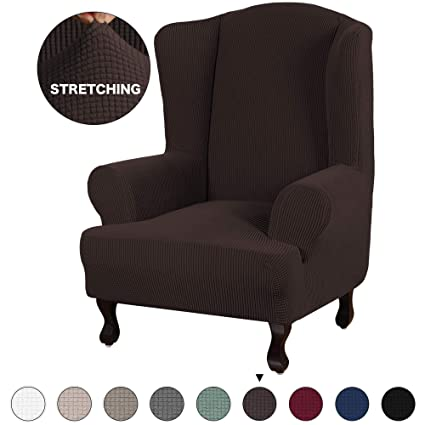 Awesome Turquoize Stretch Wing Chair Slipcover Wingback Armchair Chair Sofa Cover Furniture Protector 1 Piece With Elastic Bottom Anti Slip Foam Kids Jacquard Inzonedesignstudio Interior Chair Design Inzonedesignstudiocom