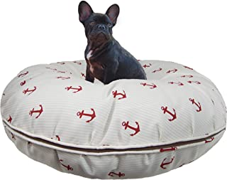 product image for BESSIE AND BARNIE Water Resistant Red Anchor Indoor/Outdoor Durable Bagel Pet/Dog Bed with Removable Cover (Multiple Sizes)