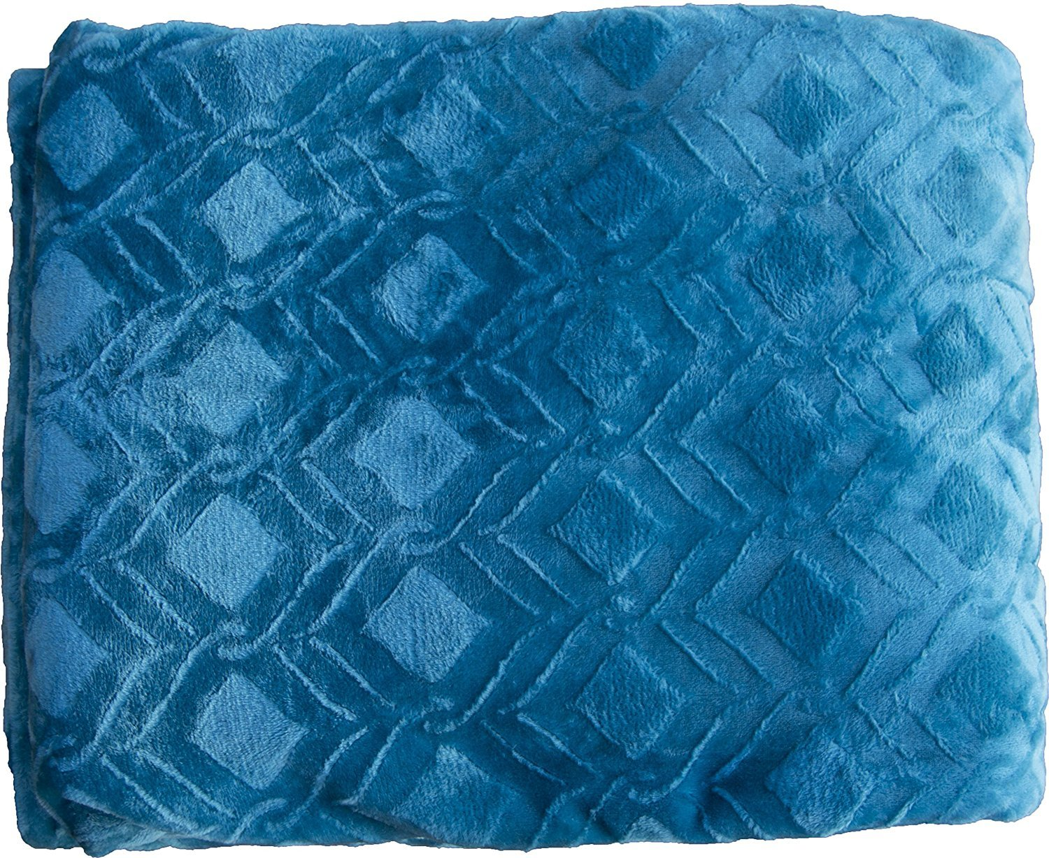 FANCY Collection Super soft Solid Flannel Embossed Queen/King Size BLANKET Cover light weight Turqouise