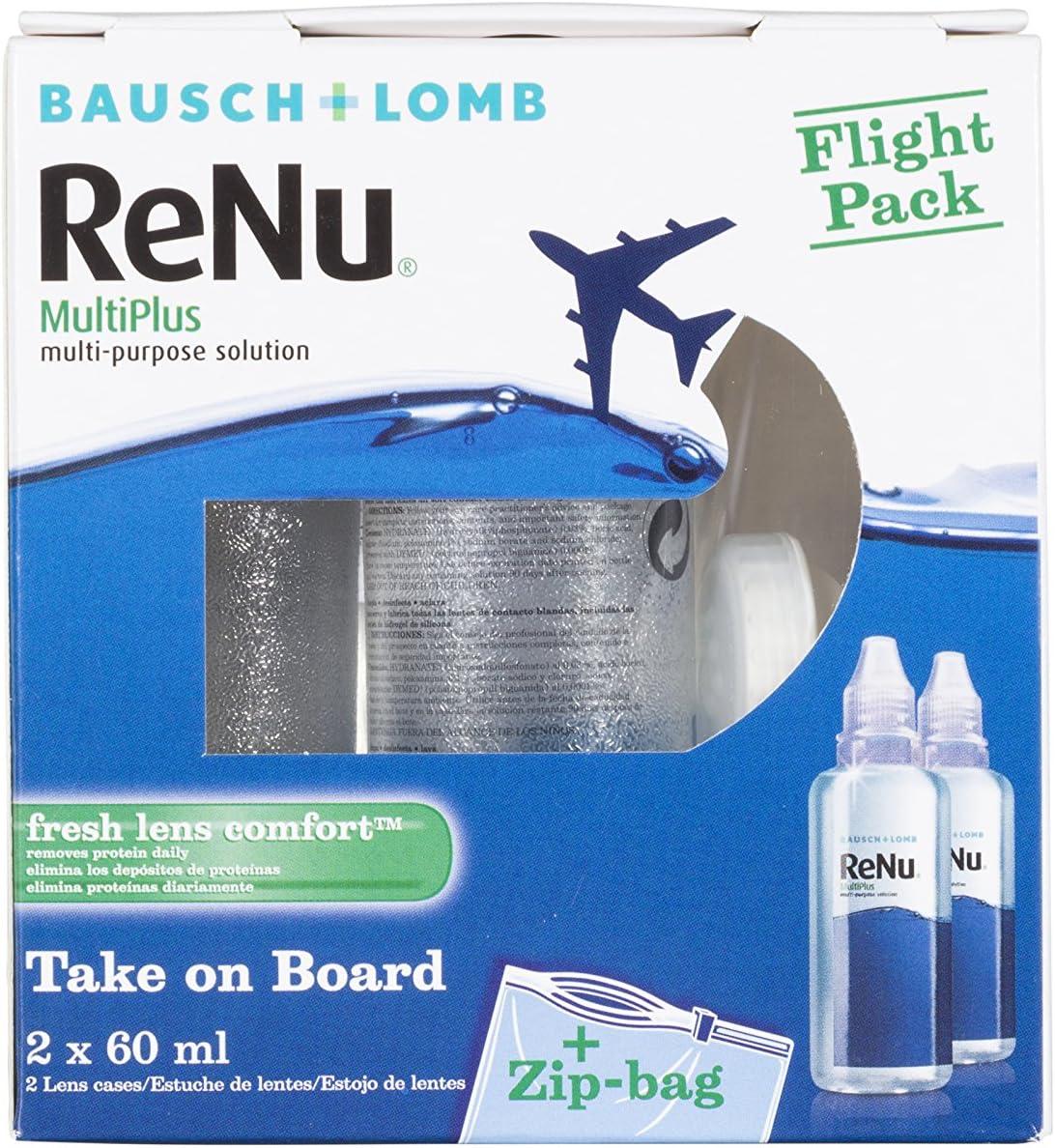 BAUSCH + LOMB - Renu® MultiPlus Solución de Mantenimiento - Kit viaje Pack 2 botellas x 60 ml: Amazon.es: Salud y cuidado personal